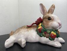 Vintage 1991 Fitz And Floyd Christmas Bunny Rabbit Figurines Large