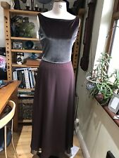 SIZE 12 JIM HJELM OCCASIONS MAXI DRESS VELVET 10% SPANDEX BROWN CHIFFON ON RED