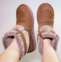 UGG Australia Women's JOCELIN Shearling Buckle Brown Ankle Suede Boots! Size 11