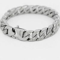 "DG Men's 8.5"" Silver Stainless Steel,ICED-OUT CZ 13mm Miami Cuban Bracelet*BOX"