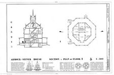 Victorian Octagon house plan, many bedrooms, porch, architectural PDF file
