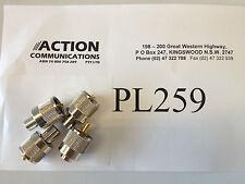 4x PL259, PL-259 UHF / AM CB solder type plug suit RG58 coax, Quality no plastic
