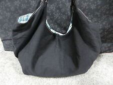 Black Cotton Extra Large Tote Bag with Multi-Color Plaid Design Liner/Snap Close