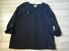 CJ.Banks Women Solid Navy Blue Roll Tab Sleeve Zip Front Knit Tunic Plus Size 3X