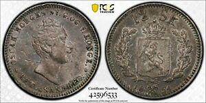 PCGS AU-53 NORWAY SILVER 12 SKILLING 1854 (HIGHEST GRADED!) TOP POP: 1/0