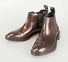 New BRUNELLO CUCINELLI Brown Patent Leather Ankle Boots Shoes Size 38/8 $1395