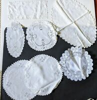Vintage Lot of 7 White Linen Embroidered Doily Cutwork Belgium Lace
