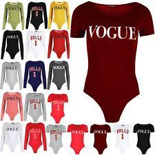 Womens Vogue Print Bodysuit Ladies Jersey Stretchy Cap Short Sleeve Leotard Top