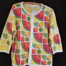 Susan Bristol Summer Watermelon Kiwi Citrus Fruit Beaded Cardigan Sweater Sz Lg