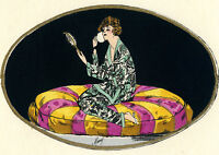 1930s French Pochoir Print Moury Flapper Girl Sitting Watching Mirror Makeup (S)