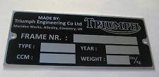 Old Triumph Aluminium HQ Data Plate Restore Frame Tiger Bonneville Lightning
