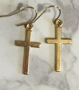 Lot 5 Pairs Cross Earrings Gold Plated Stainless Steel Hooks Hypoallergenic!