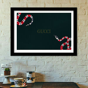 Gucci snakes poster print all sizes modern art deco frame not included