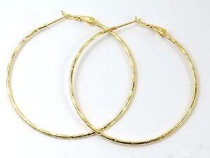 Women's Gold Filled Very Large Hoop Earrings 5.2cms diameter