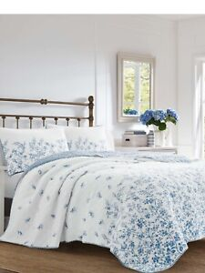Laura Ashley Flora Blue Reversible Quilt King Set