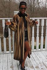 Designer full length German sable fur  Fitch & Mink trim Fur coat Jacket S-M 0-8
