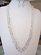 Clear AB Faceted Glass Bead Silver Link Long Necklace Earring Set