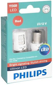 PHILIPS 1156R RED ULTINON LED LIGHTS BRIGHT SIGNALING BULBS PACK OF 2