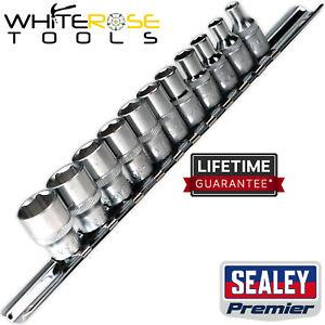 "Sealey Premier Socket Set 11pc 1/4""Sq Drive 6pt WallDrive® Imperial"