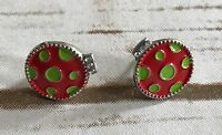 POST PIERCED EARRINGS RED Green LADYBUG LADY BUG INSECT CLEAR RHINESTONES