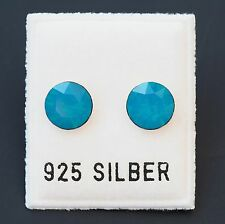 NEU 925 Silber OHRSTECKER 8mm SWAROVSKI STEINE caribbean blue opal/blau OHRRINGE