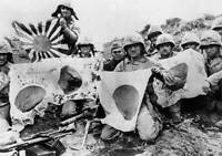OLD LARGE MILITARY PHOTO, WWII Battle Iwo Jima, US Marines with Japanese Flags