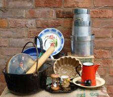 More details for vintage kitchenalia basket enamel saucepan tin * kitchen display
