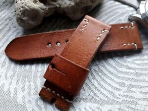 26mm Vintage old school Handmade leather watch strap, AMMO Punch, reddish
