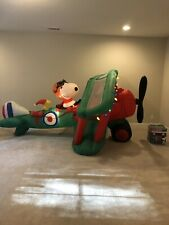 Gemmy Christmas Animated Airblown Inflatable Snoopy Peanuts Airplane Blow Up