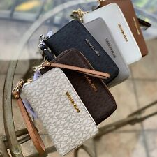 Michael Kors Medium Large Leather Credit Card Holder Flat Wallet Case Wristlet