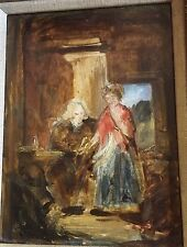 """Antique Oil On Panel """"The Interview"""" Attributed To William James Muller 1812-45"""