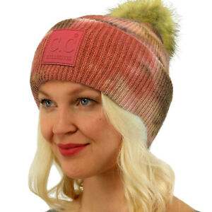 CC Fur Pom Winter Fall Trendy Stretchy Cable Knit Beanie Hat Cap Tie Dye Brown