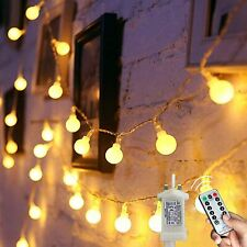 Augone LED Electric Fairy Lights Globe String Waterproof 8M 120 In Warm White