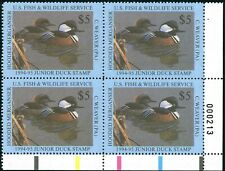 JDS #2 1994 JUNIOR DUCK STAMP PLATE BLOCK OF 4 VF+ CENTERING. NICER THAN MOST