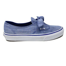 Vans Authentic Knotted Blue Women's 9.5 White Skate Shoes New
