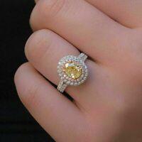 3 Ct Oval Orange Citrine Diamond Double Halo Engagement Ring 14K White Gold Over