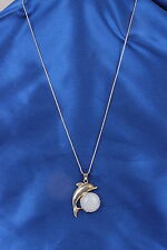 DOLPHIN OVER WHITE CABOCHON STONE PENDANT CHAIN NECKLACE FASHION 4666
