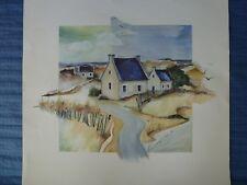 Lithographie signée H.Kirchner - Maisons dans les dunes - 70 x 70 cm