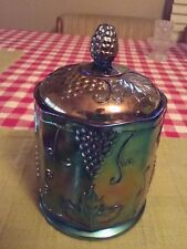 Vintage Blue Iridescent Harvest Carnival Glass Cookie-Candy Jar