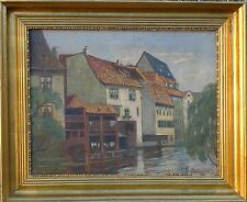 Impressionist -stadt at Channel -ölgemälde Signed Simonsen