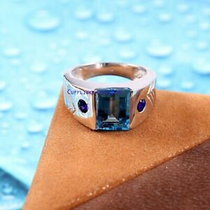 Natural Blue topaz & Sapphire gemstones with 925 Sterling Silver Ring