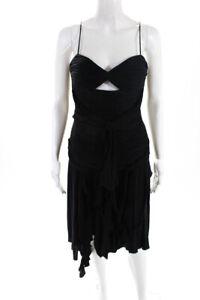 Mandalay Womens Spaghetti Strap V-Neck Tiered Dress Ruffles Black Size 6