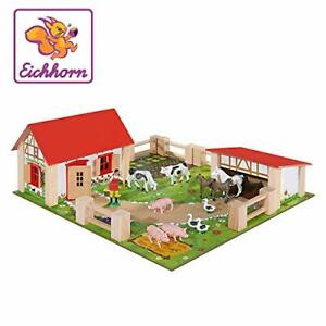 Small Farm Yard Wooden 21Pc Kids Childrens Toy Play Set Animals Fences Figures