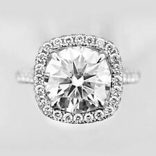4.00 CT Near White Moissanite Halo Engagement/Wedding Ring 14K Solid White Gold