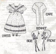 "8-9""Antique China Head/Parian Lady Doll Cloth Body@1835 Dress/Hat&Cape Pattern"