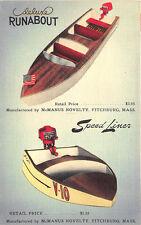 Fitchburg MA McManus Novelty Die-Cut  Runaboat Speedliner Model Kits Postcard