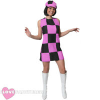PINK AND BLACK 60S 70S PARTY GIRL FANCY DRESS COSTUME LADIES SHIFT DRESS & HAT