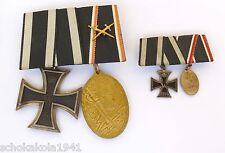 2er Spange Iron Cross Ek 2 und Kyffhäuser-Denkmünze mit Miniaturspange selten