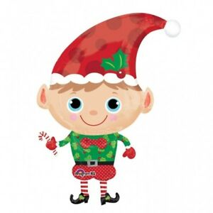 LARGE CHRISTMAS JOLLY ELF SUPERSHAPED FOIL BALLOON PARTY DECORATION 66CM X 91CM