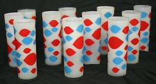 11 Vintage DAIRY QUEEN Logo DQ Frosted TUMBLERS Red/White/Blue Tall Glasses Set